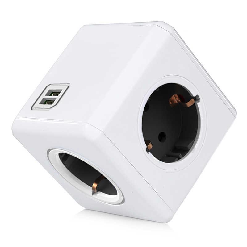 Allocacoc PowerCube Wtyczka Gniazdo elektryczne Przedłużacz kostki zasilającej Złącze adaptera Adapter UE do wtyczki z gniazdem zasilania Wtyczka 4A 4 Gniazda 2 Do użytku domowego USB Ładowanie szary niebieski