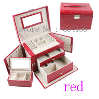 Practical multifunctional 3 layer watch box earrings necklaces pendants leather jewelry box red gift box free shipping