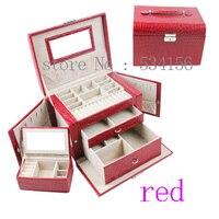 Praktische multifunktionale 3 schicht uhrenbox ohrringe halsketten anhänger leder schmuckschatulle roten geschenk-box kostenloser versand
