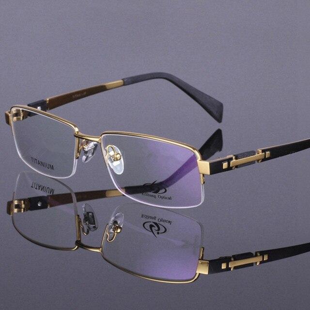 99d6e3e9ad3 2016 New Men Style Pure Titanium Half Rim Eye Glasses Fashion Men s  Eyeglasses High Quality Classic Optical Frame for men