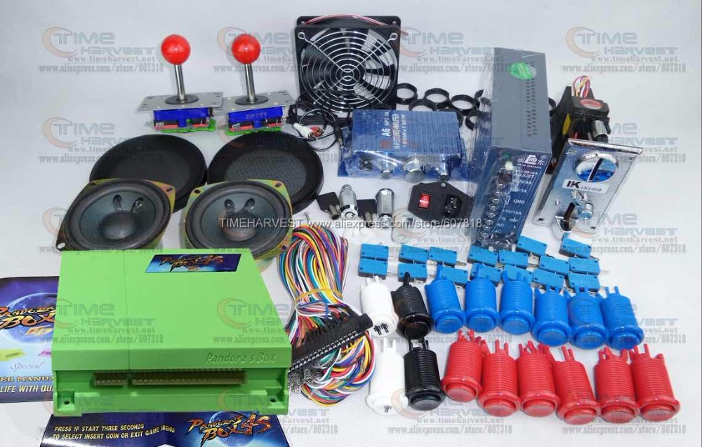 Arcade parts Bundles kit with Pandora Box 4S plus upgraded version game board American Style Joystick Button Coin mech Fan Net pandora box 4s 2 player arcade console for home 815 in 1 family game consoler with 5 pin 8 way joystick lock button hdmi vga out
