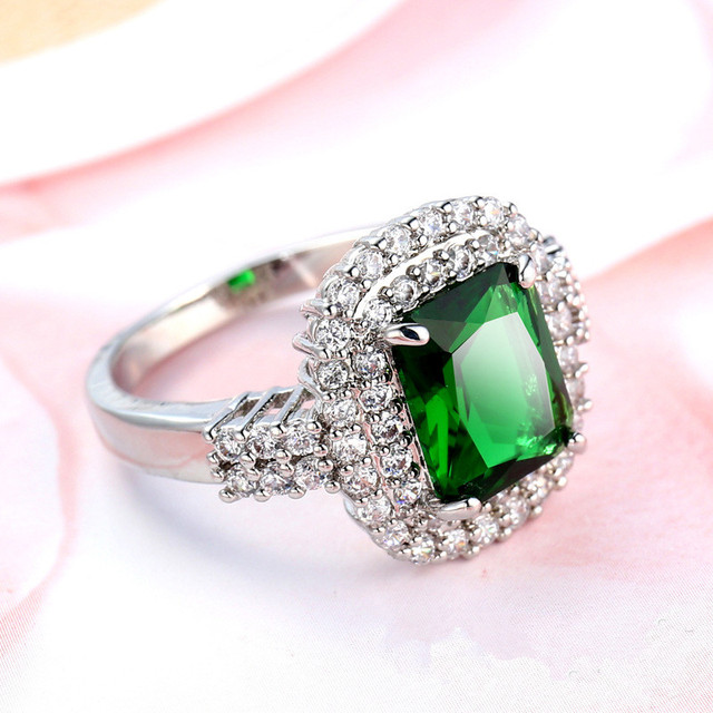 Fine square cut ring  white gold plated women imitated  rings size 7 8 9