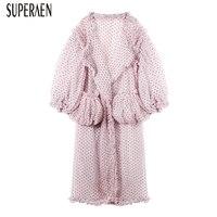 SuperAen 2018 Summer Dress Women New Fashion V neck Europe Ladies Mesh Dress Loose Dot Casual Long Sleeve Dress Female