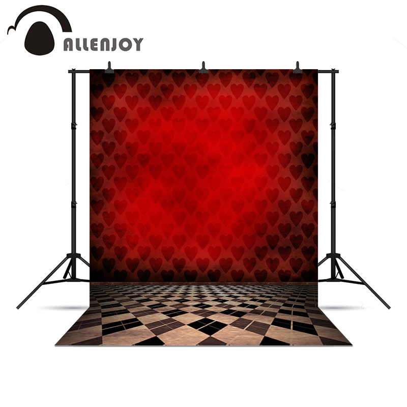 Allenjoy photography backdrops Red heart magic plaid floor vintage backgrounds for photo studio background for photo shoots