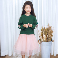 2017 New toddler girl clothing baby girls clothes set cotton Long sleeved sweater T shirt + lovely Yarn skirt 2 8Y
