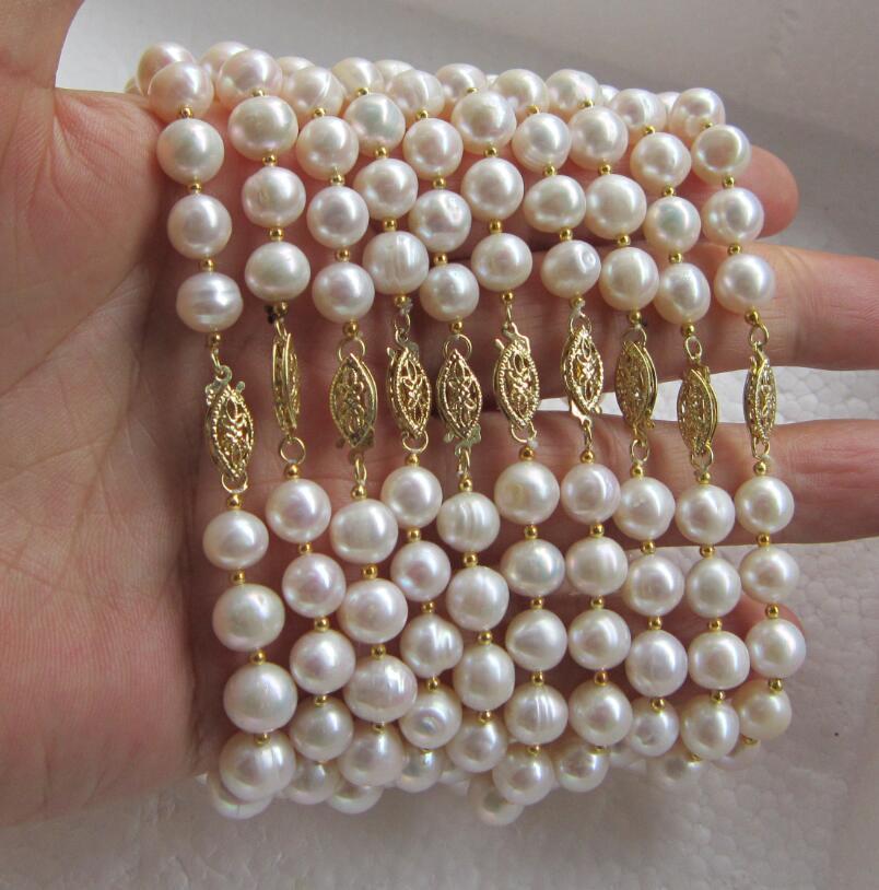 wholesale 10pcs 8-9mm white SOUTH SEA akoya pearl bracelet Gold Clasp sea horse 1 5 1 8