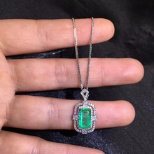 AGL Fine Jewelry Certificate Real 18K White Gold AU750 Natural Green Emerald 1.61ct Gemstones Pendants for Women Necklace