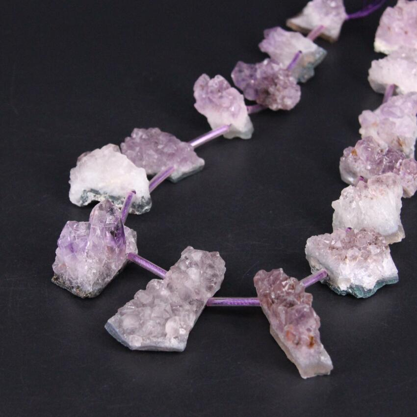Nugget Drusy Amethyst Gemstone Pendant Bead,43x25x18mm,20g,-P1065