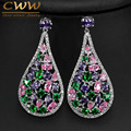 Multi Shape Colorful Cubic Zirconia Stone Round Drop Earrings For Women Luxury CZ Created Diamond Party Event Jewelry  CZ371