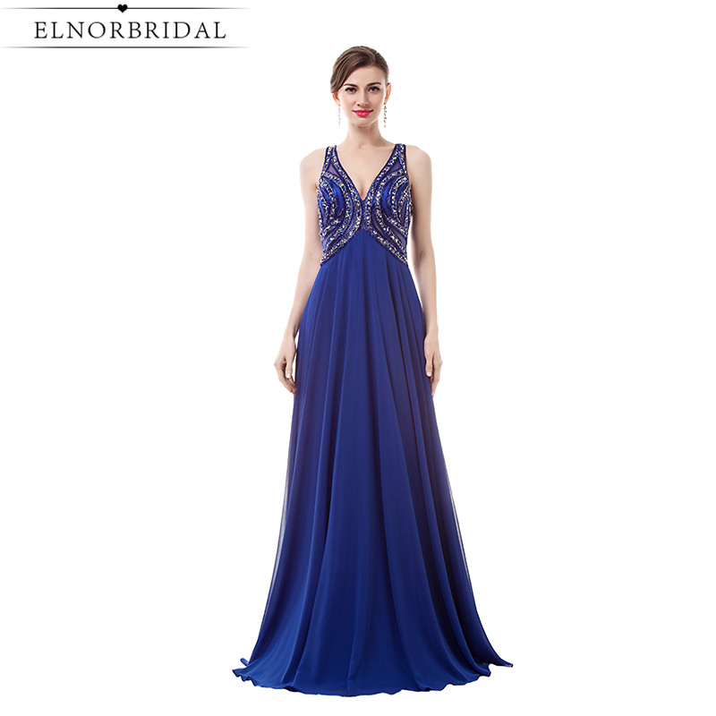 Robe De Bal Royal Blue Prom Dresses Long 2017 Deep V Neck Special Occasion Party Dress Beading Formal Women Evening Gowns