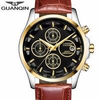 GUANQIN Mens Watches Top Brand Luxury Chronograph Watch Men Military Sport Leather Quartz Wrist Watch Relogio