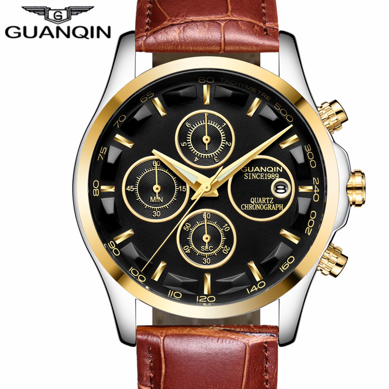 GUANQIN Mens Watches Top Brand Luxury Chronograph Watch Men Military Sport Leather Quartz Wrist Watch Relogio Masculino 2018 New ochstin sport mens watches top brand luxury male leather chronograph quartz military wrist watch men clock saat montre horloge