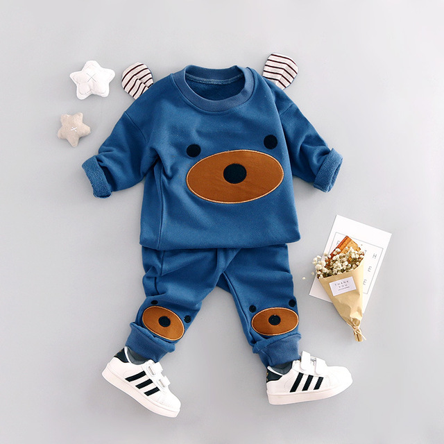 New spring Baby Boys Clothes Cartoon Cute Bear Knitted Ear Sweatshirt + Pants Suit Kids Clothes Set Children Clothing Costumes