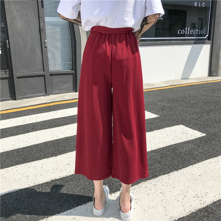 19 Women Casual Loose Wide Leg Pant Womens Elegant Fashion Preppy Style Trousers Female Pure Color Females New Palazzo Pants 69