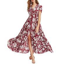 2019 New Yfashion Women Wine Red V Collar Printing Beach Dress