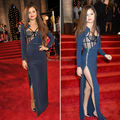 Selena Gomez New Arrival Long Sleeves Beaded See-Through Top High Slit A Line Celebrity Dresses