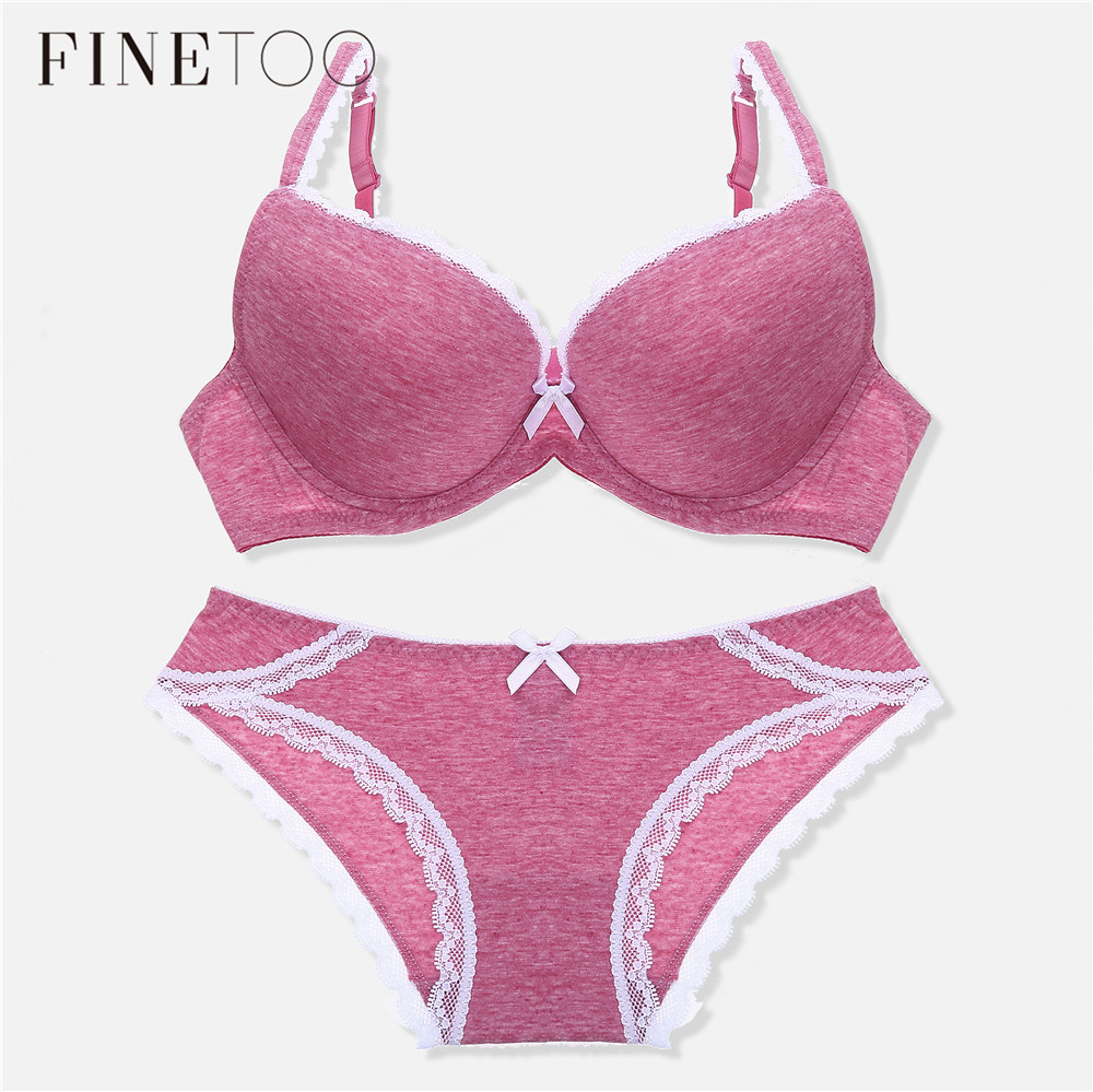 Fashion Cotton Sexy Bra Set Seamless Push Up Bra Underwear Suit Adjustable 3/4 Cup Deep V Bras Comfortable Panties Intimate Sets