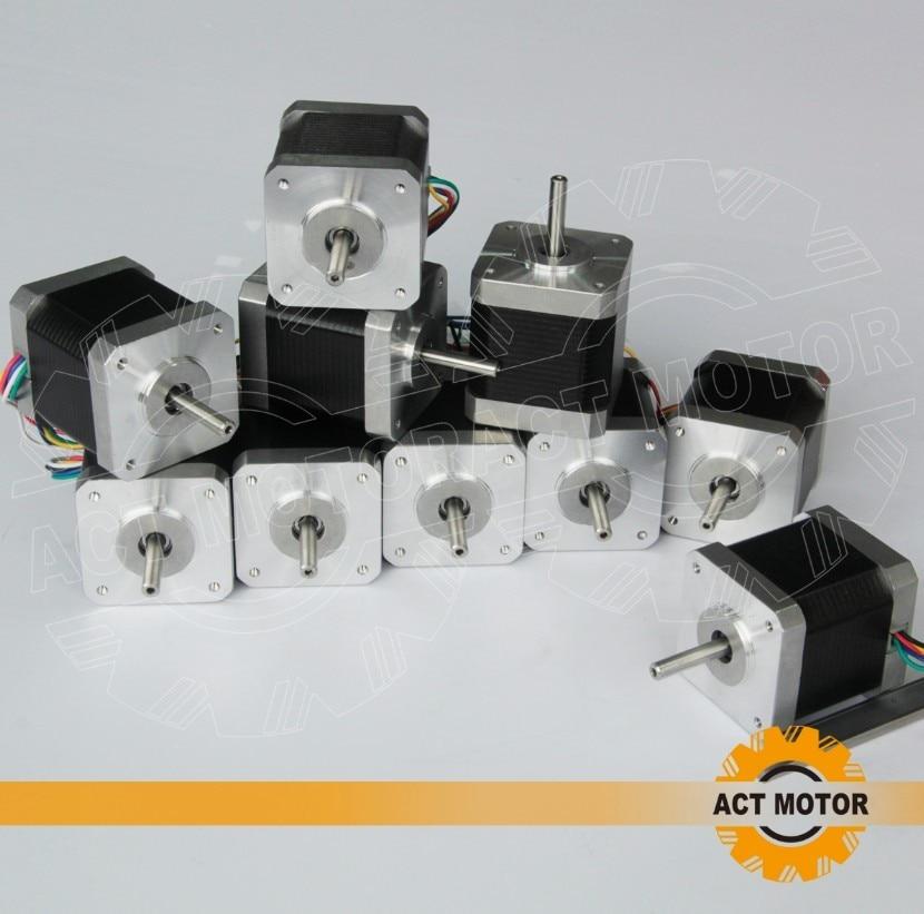 10 pièces 6-lead nema 17 moteur pas à pas 48mm12V/0.4A/75oz-in (vente chaude)