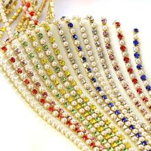 1 ярд Хрустальное стекло SS6/2 мм Золотое основание стразы цепочка для чашки закрытые цепочки стразы цепочка с жемчугом и стразами пришить на одежду B3729