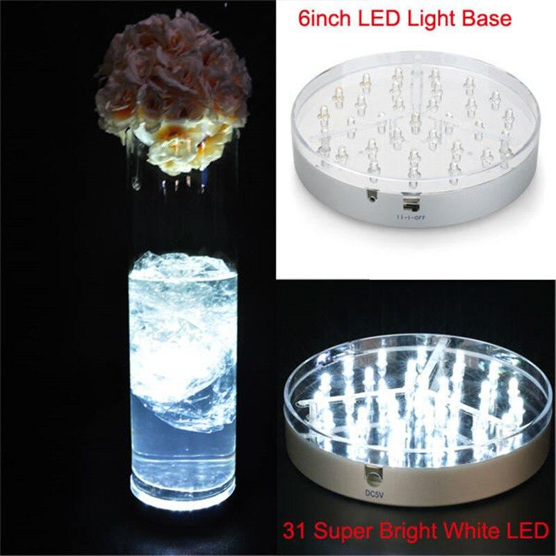 KITOSUN 6inch Acrylic Round LED Vase Base Light With 31 Super Bright White Leds For Wedding And Party Vases Table Decoration