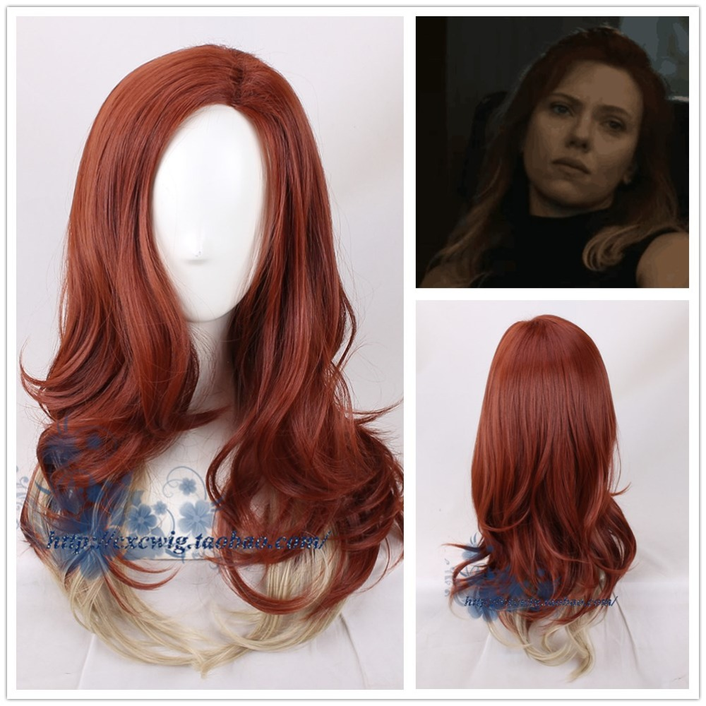 Black Widow Dark Red Yellow Gradient Wig Mixed Color Synthetic Hair Body Wave Halloween Cosplay Wig Adult