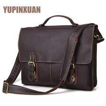 YUPINXUAN Mens Cow Leather Messenger Bags 14″ Laptop Handbags Office Bags Designer Genuine Leather Briefcases Cowhide Work Bags