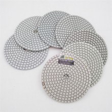 SHDIATOOL 7pcs/set 4 Professional White Diamond Wet or Dry Polishing Pads Diameter 100mm Resin Bond Sanding Discs