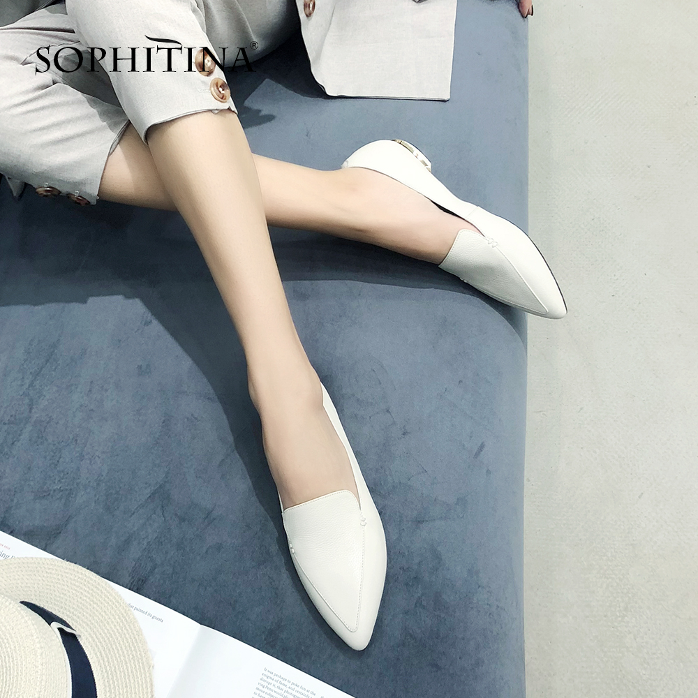 SOPHITINA New Women's Pumps Cow Leather Fashion Pointed Toe Comfortable Round Toe Shoes Spring Casual 2019 Handmade Pumps SO81