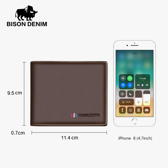 BISON DENIM New Genuine Cow Leather Coin Purse For Men Card Holder