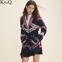 Ky Q European Chic Women Cardigan Sweater 2017 Autumn Winter Knitted Coat Female Runway Long Cardigan