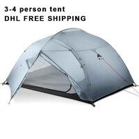 DHL Бесплатная доставка 3F UL шестерни 3 человек 4 сезон 15D палатка Открытый Сверхлегкий пеший Туризм альпинизмом Охота водонепроница