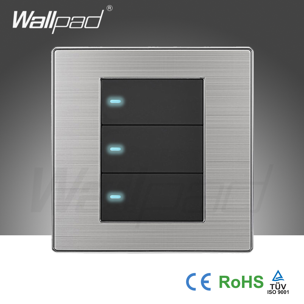 2018 hot sale 3 gang 1 way wall light switch wallpad luxury push 2018 hot sale 3 gang 1 way wall light switch wallpad luxury push button switches led indicator interrupteur 10a ac 110250v in switches from lights aloadofball Choice Image