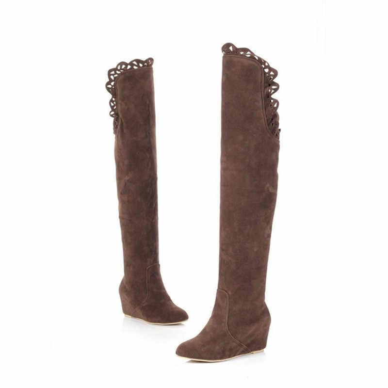 ต้นขาสูงรองเท้าผู้หญิง Boot ฤดูหนาวหญิงเรือผู้หญิงกว่าเข่าบู๊ทส์แบนยืดเซ็กซี่รองเท้าสีดำสีเทาขี่
