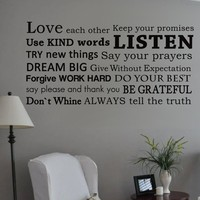 Always tell the truth (House Rules) Family Wall Decal Inspirational Vinyl Living Room Wall Art Sticker 57 x 28 L