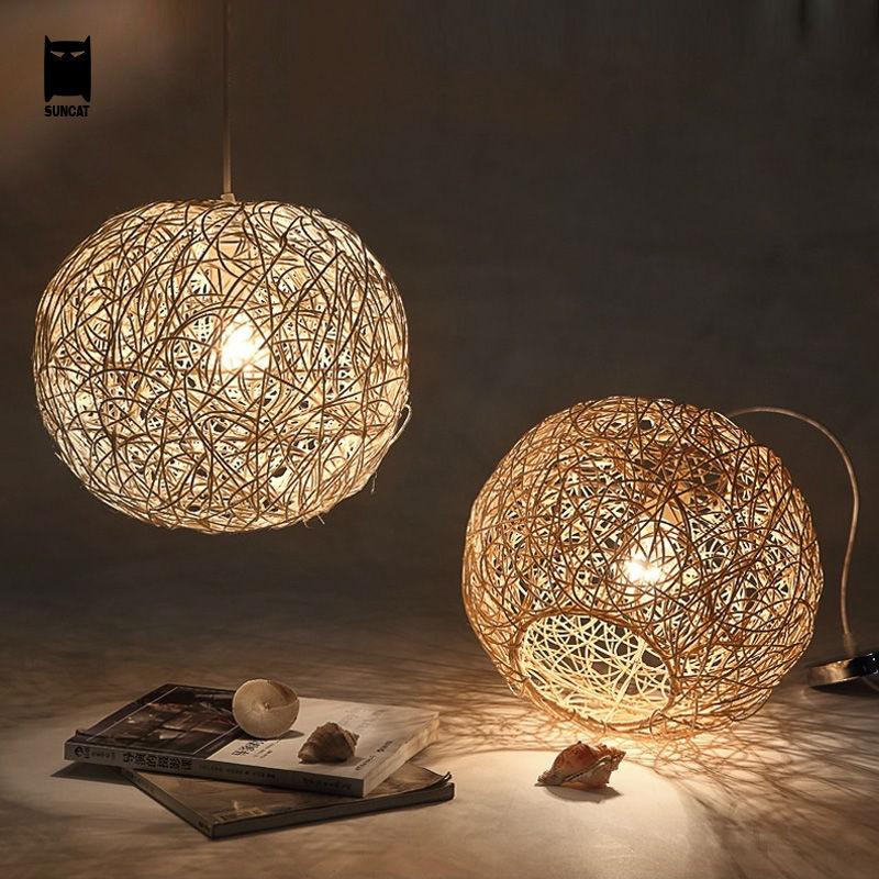 304050cm Wicker Rattan Ball Globe Sphere Pendant Light