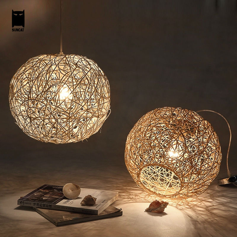 30/40/50cm Wicker Rattan Ball Globe Sphere Pendant Light Fixture Modern Rustic Country Hanging Lamp Avize Luminaria Dining Room