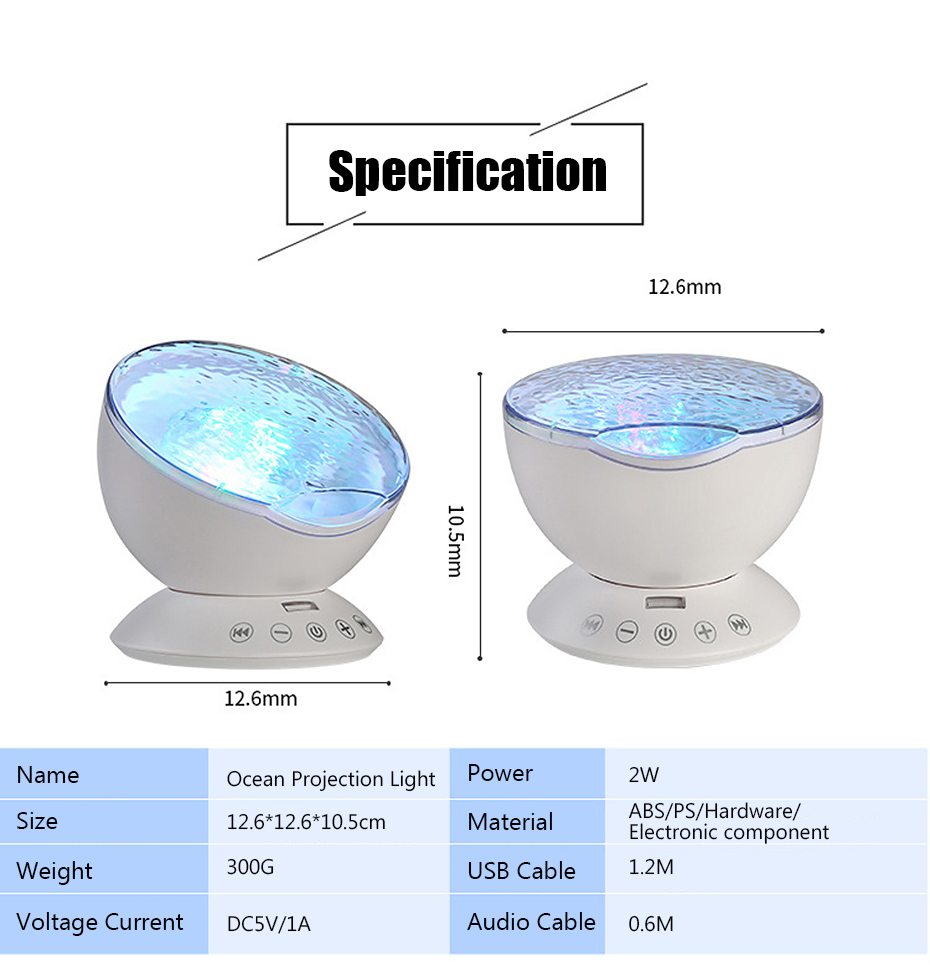 Ocean Wave Starry Sky LED Night Light Projector