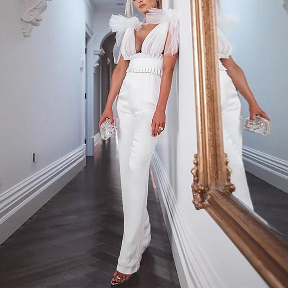 Missord 2020 New Summer Sexy Deep V  Mesh Backless High Wais Female  Bodycon Elegant Solid Color Jumpsuit FT19439