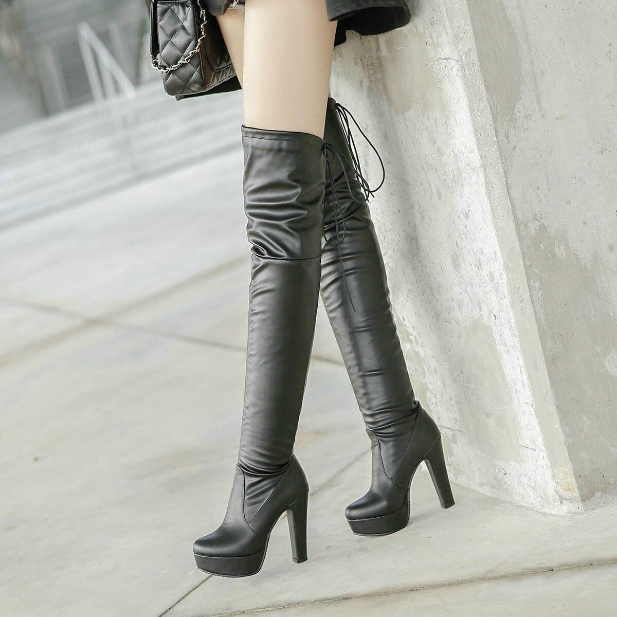 Lace Carré Genou Cuir Noir rouge Haute Cuisse Dames Bottes Noir En Plate Up Pu Le Chaussures Hiver forme Femmes Talon Rouge Sur 0wOqX5