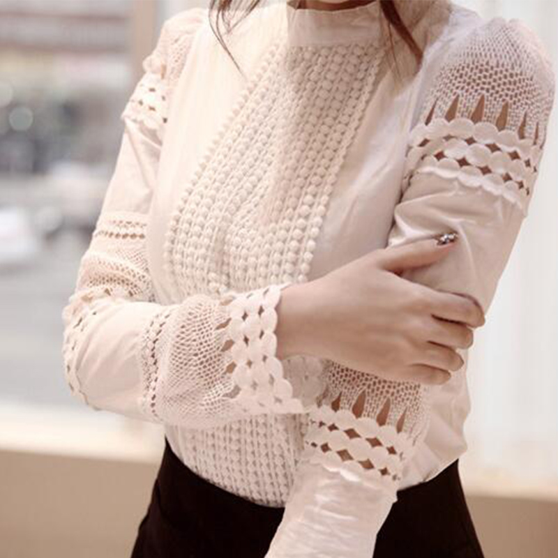 2019 Korean version shirt Hook Flower Hollow Out Lace Female Stitching Solid color casual Large size sweet shirt S-4XL cc215 thumbnail