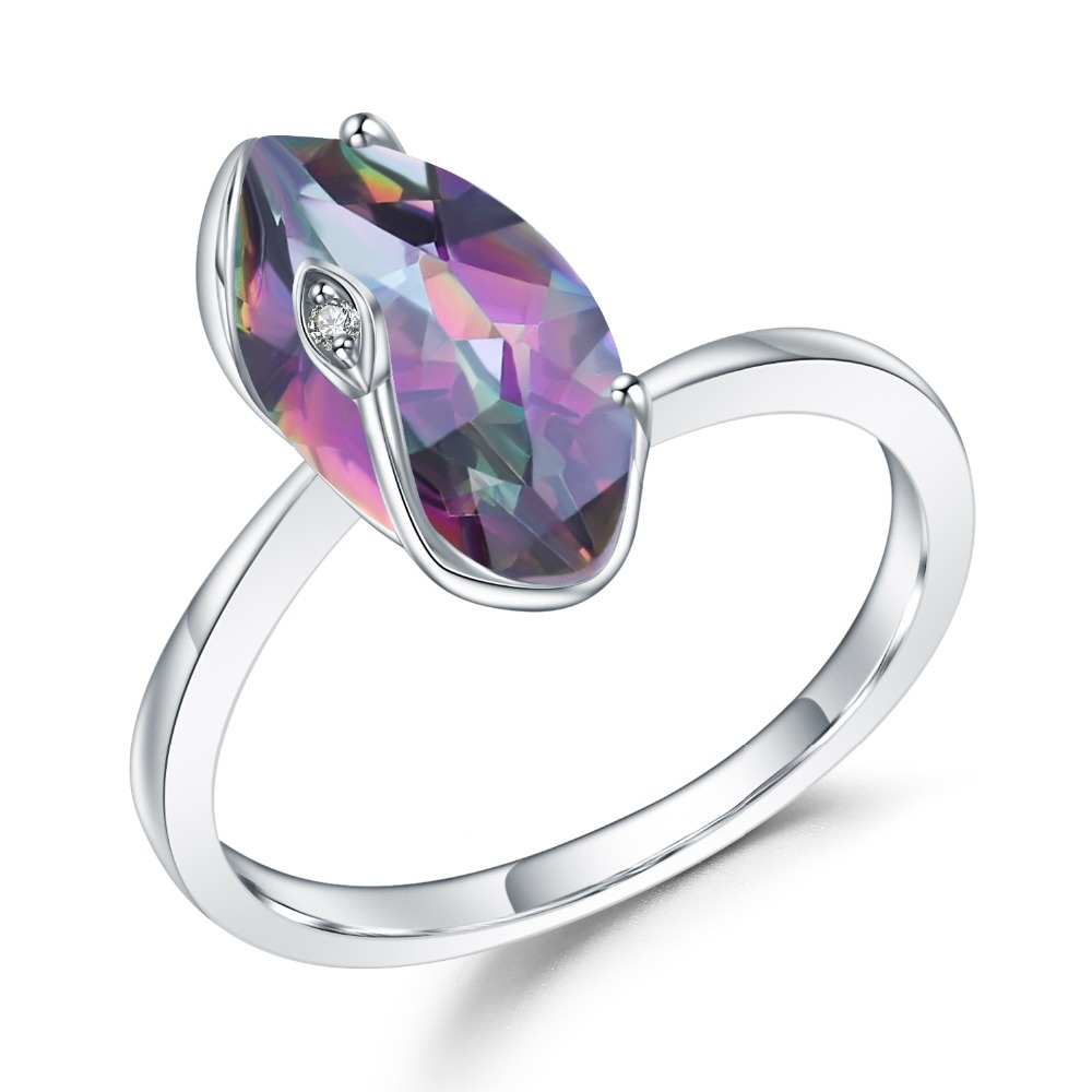 GEM'S BALLET 2.49Ct Natural Rainbow Mystic Quartz Marquise Ring 925 Sterling Silver Gemstone Rings For Women Wedding Jewelry