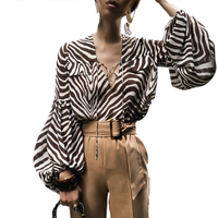 9af43e39bfcd Fashion Voile Blouses Woman 2019 Women S Zebra Spinning Long Sleeved Shirt  V Neck Women Tops