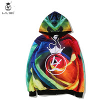 Youth Clothing Hooded Casual  Hoodies Wool Liner Colorful printed Winter Thickened Warm Coat Male fashion Sweatshirts Outwear