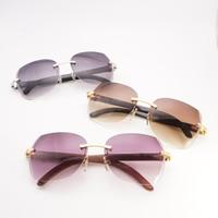 Vintage Diamond Cutting Rimless Wooden Sunglasses Men Black Mix White Buffalo Horn Oversize Frame Shades for Outdoor Gafas