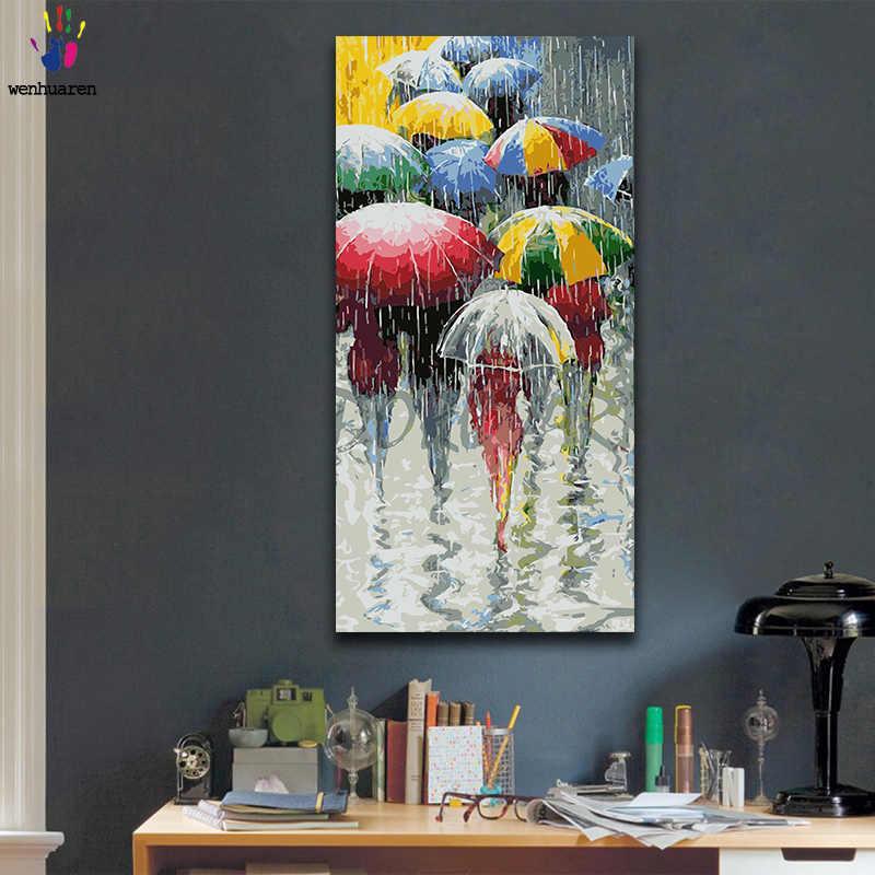 Colorبها بنفسك تلوين الصور بواسطة أرقام مع الألوان مظلة في يوم ممطر صورة رسم الطلاء بواسطة أرقام مؤطرة المنزل