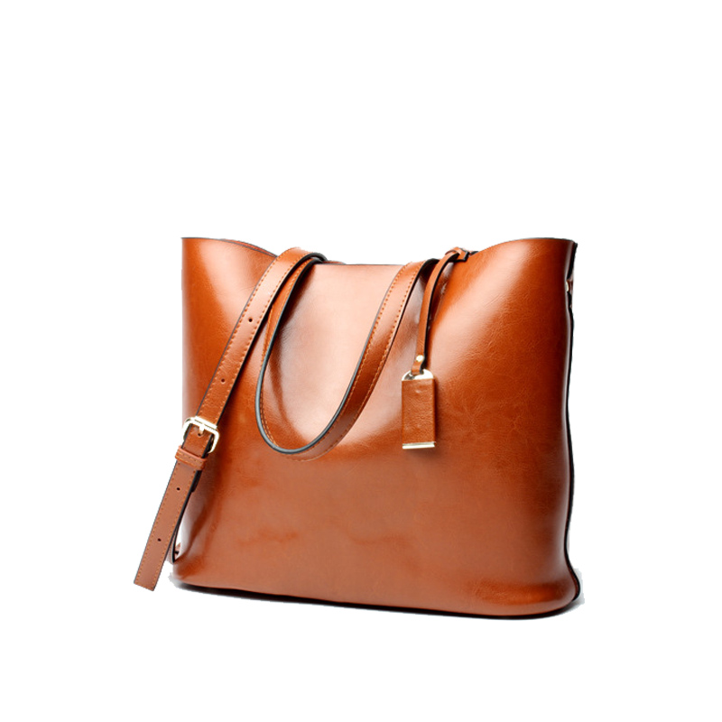 Retro oil wax leather shoulder bag European and American fashion handbag leather simple combination package