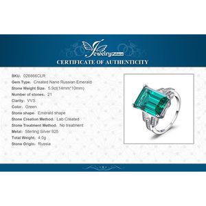 Image 5 - JewelryPalace 5.9ct Creato Nano Smeraldo Anello In Argento Sterling 925 Anelli per Le Donne Anello di Fidanzamento In Argento 925 Pietre Preziose Gioielli