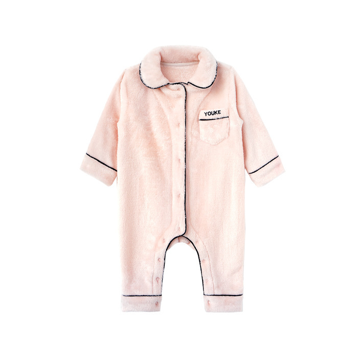 Baby girls romper solid pink fleece toddler baby pyjama soft high quality newborn baby girl jumpsuit winter kids night wear baby girl romper solid pink blue cute cartoon rabbit design christmas romper toddler baby girls jumpsuit boutique baby clothes