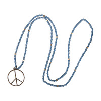 2017 New Fashion Blue Stone Beaded Metal Tree Round Pendant Necklace Choker Woman Collares Friendship Necklace