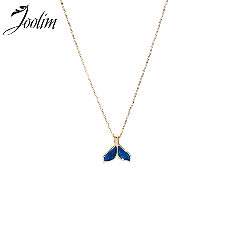 Joolim Cute Navy Blue Enamel Fishtail Pendant Necklace Delicate Fashion Jewelry